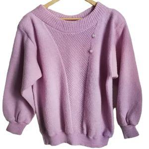 VINTAGE 80s Pink Oversized Crewneck Knit Sweater